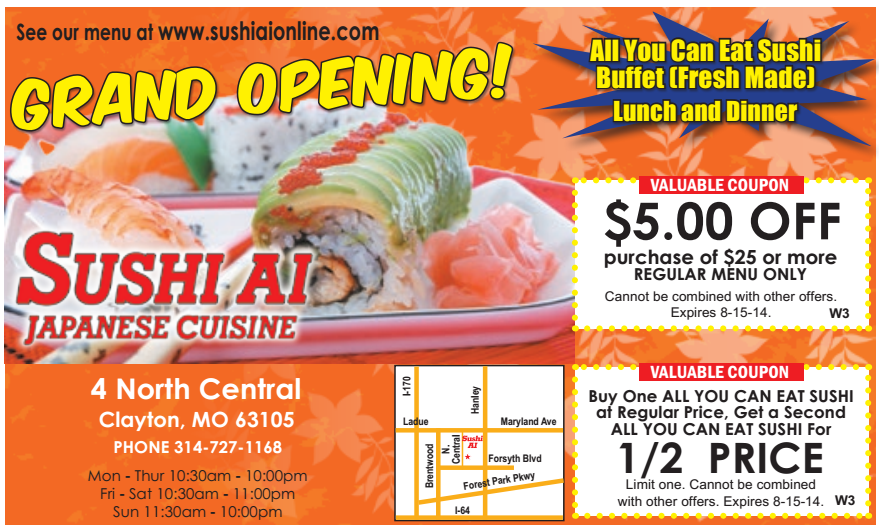 image about Yoshinoya Coupon Printable named Coupon sushi do : Scream zone discount codes