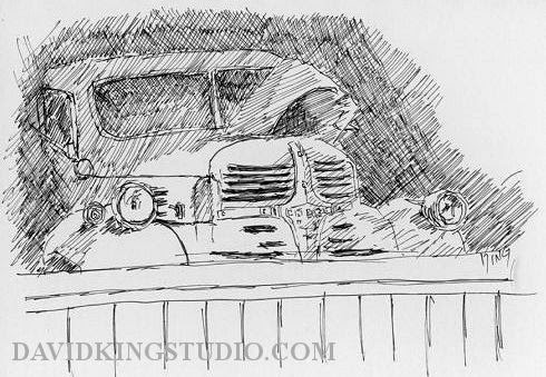 art sketch life pen truck Dodge garage wheeler farm