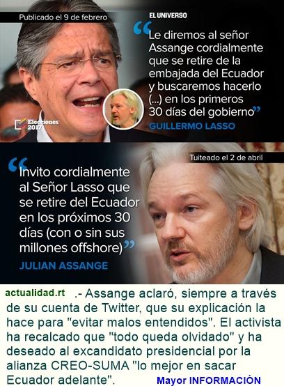 Assange aclara acerca de su invitación a Lasso para que abandone Ecuador