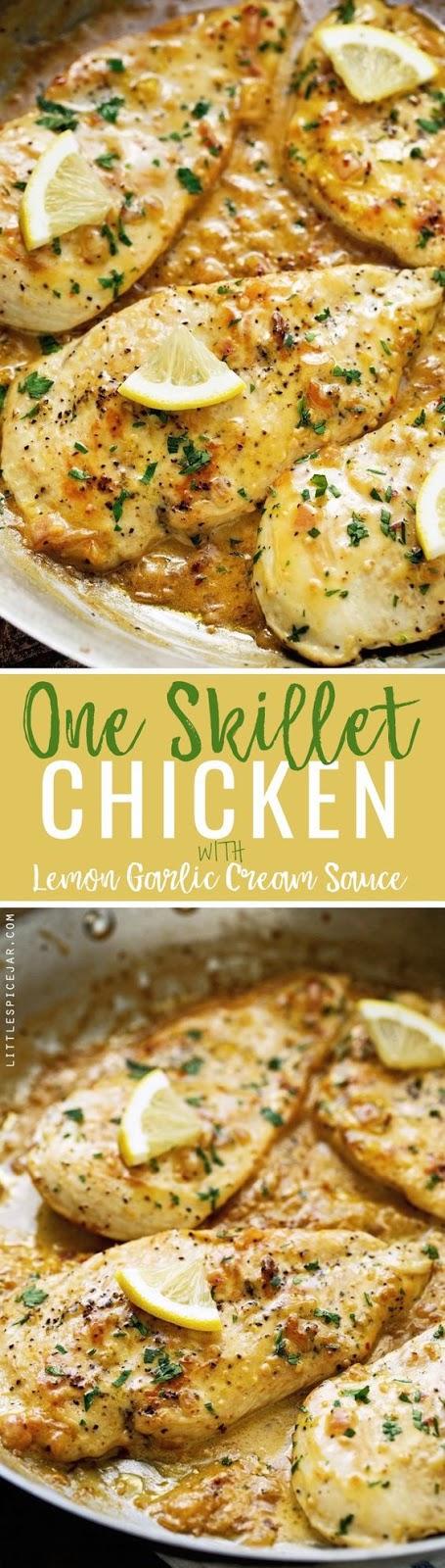 One Skillet Chicken with lemon Garlic Cream Sauce - Chicken Recipes