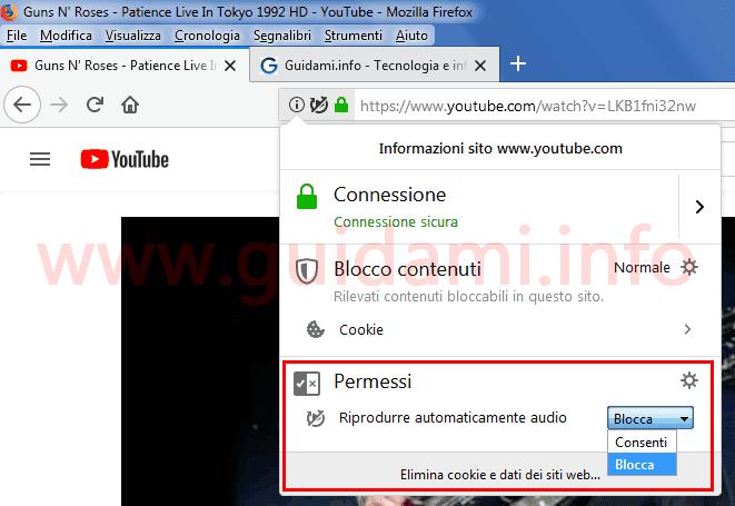 Popup informazioni sito web in Firefox 66.0