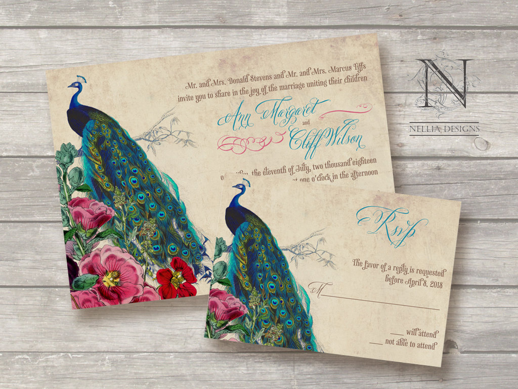 Great Wedding Invites: Great Ideas For The Busy Little Bride: Peacock Themed