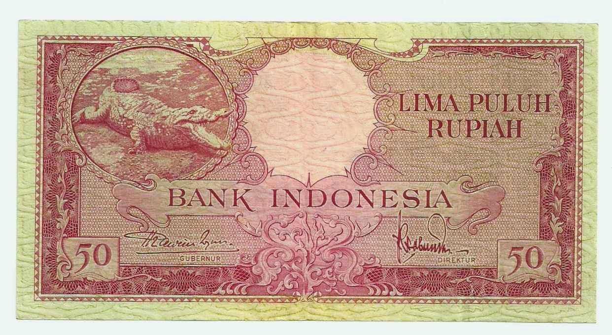 uang kuno Seri Hewan tahun 1957 pecahan 50 rupiah