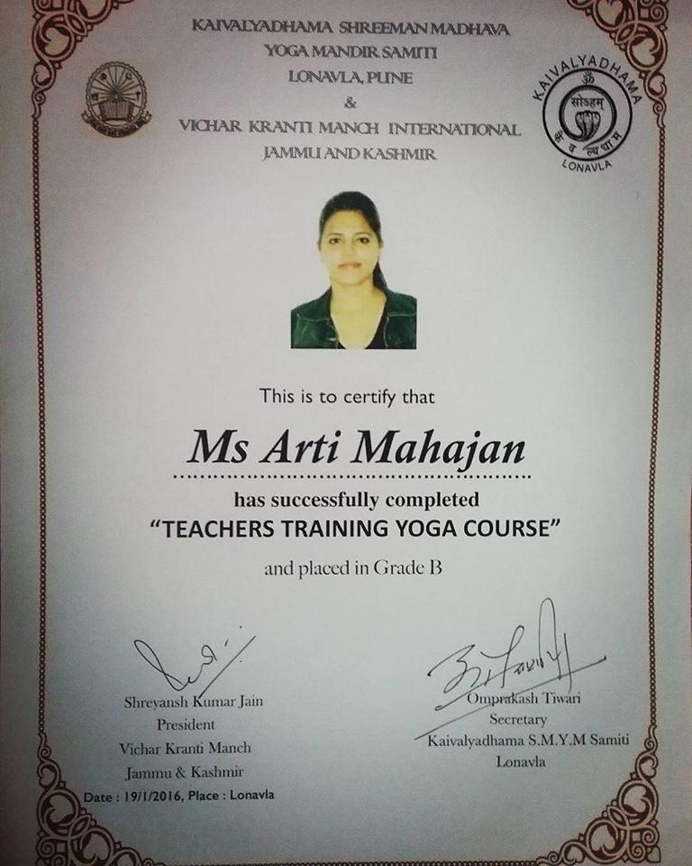 Holistic Fitness With Aarti Mahajan Dingra Yoga Certification