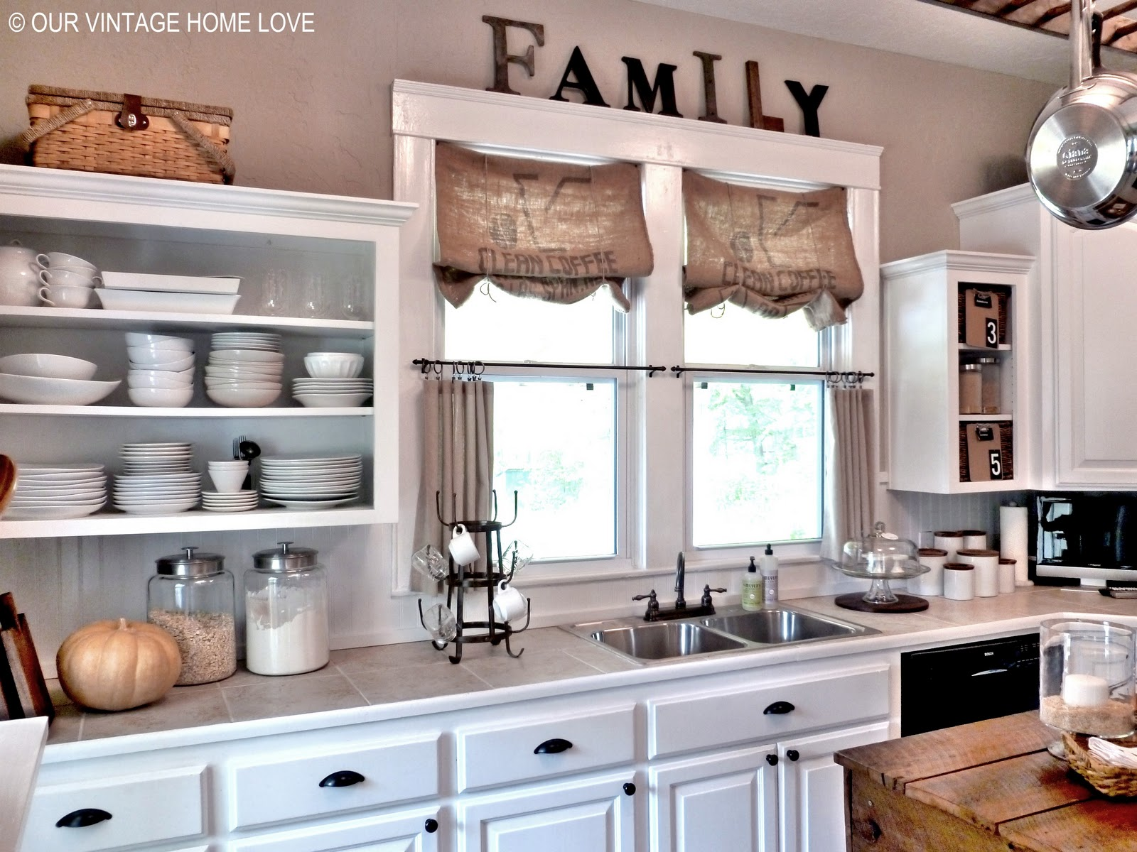 Vintage home love inexpensive window treatments and a - Curtain designs for kitchen windows ...