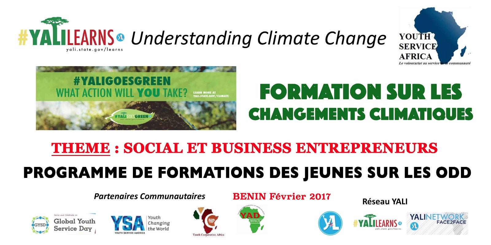 Youth service africa rapport des formations sur les changements climatiques th me social - Formation auto entrepreneur chambre de commerce ...