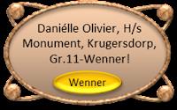 Daniélle Olivier is die Graad 11-Wenner by Hoërskool Monument, Krugersdorp met die aanbieding van haar redenaarstoespraak onder die ATKV se 2013 Tema: DOOLHOF