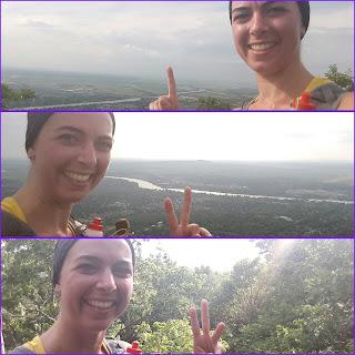 Montage photo, coureuse souriante, sommet de montagne, mont Saint-Hilaire, paysage