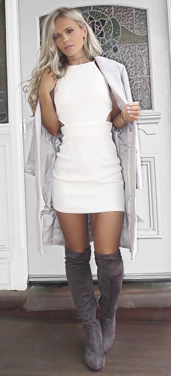 how to wear a coat : white dress and over knee boots