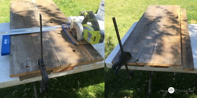 ripping table top and bottom to fit metal legs using a Kreg rip cut