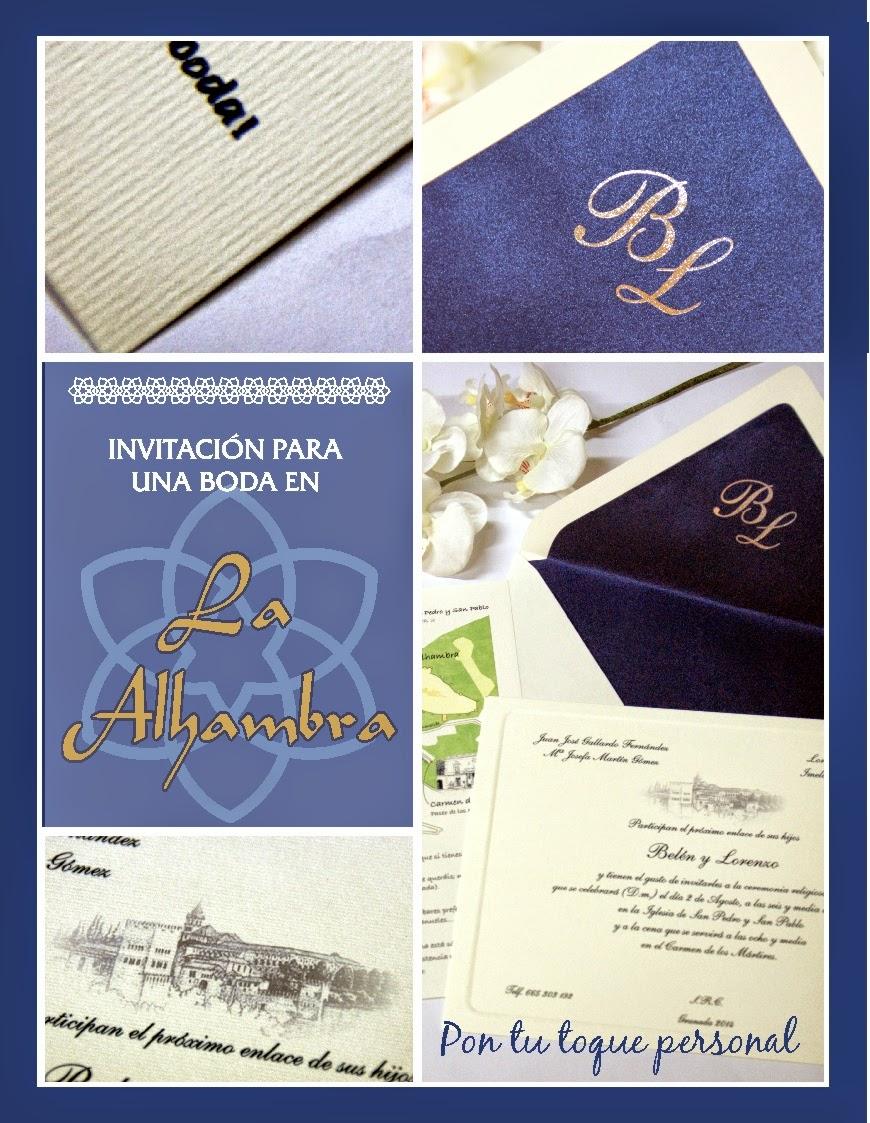 Invitación para una boda en La Alhambra