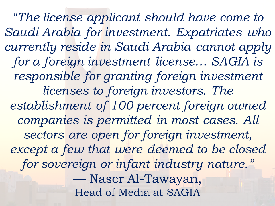 "Expatriates who want to put up a business in Saudi Arabia is now facing difficulties in establishing a legal way due to the stiff regulations in the kingdom.  The alternative way to start a business in Saudi Arabia without the need of a kafeel is through the Saudi Arabian General Investment Authority (SAGIA) where it is become the sponsor of expats who wish to start a business.  According to Ali Shah, CEO of business-consulting firms ASCS and VRS, there are many reasons the government does not allow expatriates to set up their businesses legally. ""One of the major reasons is the influence the 'free' presence of foreign entities of different scales may have on the traditions, culture, social structure or even security of the Kingdom,"" Shah said. Shah said Saudi society is nonetheless being compromised because of the ever-increasing population of expatriates. He suggests that a regulated and well-monitored system of allowing expatriates to run their businesses can legally be implemented. The Foreign Investment Law further states that SAGIA is responsible for granting a foreign investment license to foreign investors. ""Allowing expatriates to set up businesses legally on their own will definitely add to the economy,"" says Shah. ""The only harm I can see is the entrance of undesirable crime-oriented entities, but that can be countered through effective law enforcement and intelligence."" Sponsored Links Expatriates residing in the Kingdom claim that the government should pay attention to the foreigners who have been already living in the country for several years. ""I believe they should be given the opportunity to buy homes and have some sort of a permanent residence free of sponsorship that leads to citizenship based on track record,"" said Shah. Paul Gamble, chief economist and head of research at Jadwa Investments, assumes the government does not allow expatriates to set up their businesses legally because it could undermine the position of locally owned businesses. ""There is no reason that foreign-owned business would harm the Saudi economy,"" says Gamble. ""If it is a good business – one that generates products and services that are better than, cheaper than or different to those already available – then everyone benefits. Foreigners may choose to transfer more of their profits abroad, but if their business is successful they may prefer to invest more in the Kingdom. They will face the same restrictions on hiring foreign labor as locally owned firms."" Many expatriates from countries like Egypt and Syria demand investing in the Kingdom rather than back at home due to the revolutions. Shah says it is a good opportunity for Saudi Arabia to attract such investors if the main focus is on reduction of unemployment and contribution to the market. ""If this privilege is given, monitors and regulations also have to be set up to protect everyone's rights,"" said Shah. ""In the case of Syria, I think they should be given any and every concession and privilege possible under the current conditions."" ""The Kingdom has proven to be one of the most stable investment destinations in the region,"" said Gamble. ""It also has one of the strongest and best performing economies. It is therefore an attractive opportunity for investors from across the region."" ""The original policy of SAGIA to allow any expatriate should be brought back, and in fact, the umbrella of SAGIA should get much bigger and accommodate expatriates that have been here a long time,"" says Shah. He adds, ""The condition that they leave on exit-only does not help. This will totally resolve the Saudization issue if a major condition is for businesses to train and hire locals."""