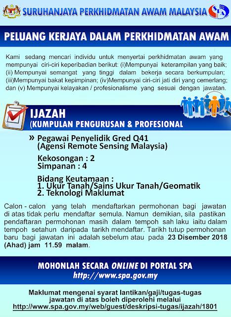 Permohonan Jawatan Kosong Agensi Remote Sensing Malaysia 2018