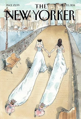 New Yorker cover illustration of two brides with long trains crossing the Brooklyn Bridge