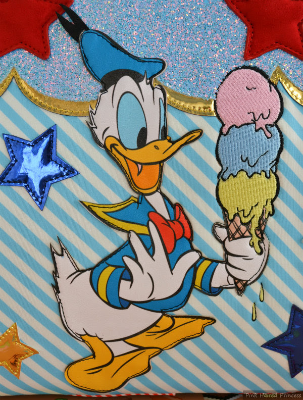 irregular choice disney donald duck applique detail on front of whoa bag