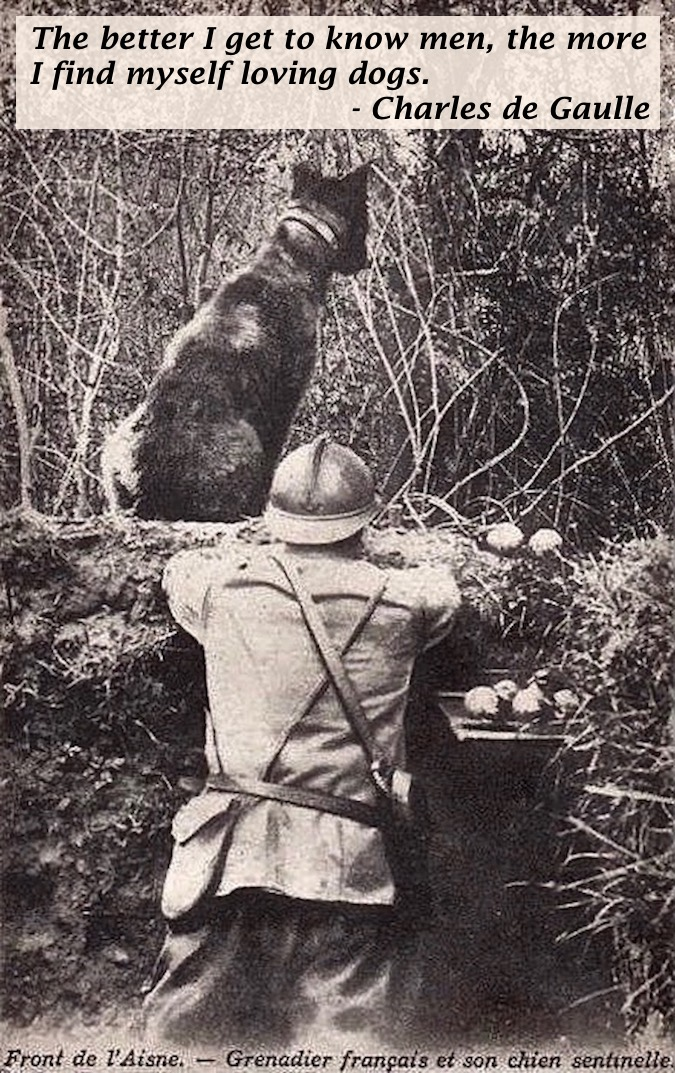 French grenadier and his sentry dog, Aisne Front, France, World War I