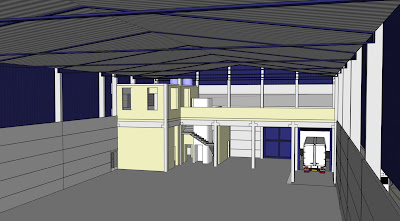 Visão semelhante do corte anterior, mas a partir do modelo virtual que incorporou as nuances do projeto executivo.