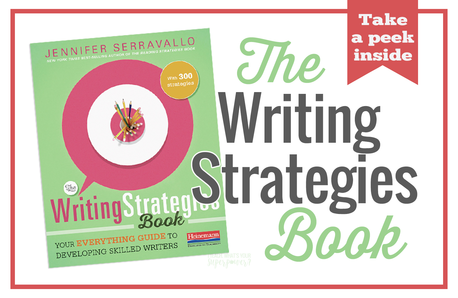 The Writing Strategies Book is the one book you need to meet your learners wherever they are.  With over 300 strategies organized by writing goals, you'll find what your K-8 students need in this book.