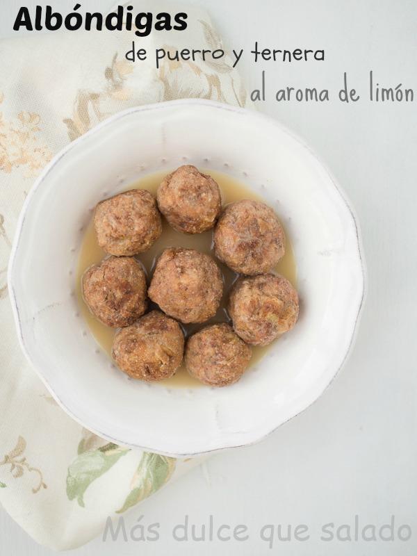 Albóndigas de puerro y ternera al aroma de limón