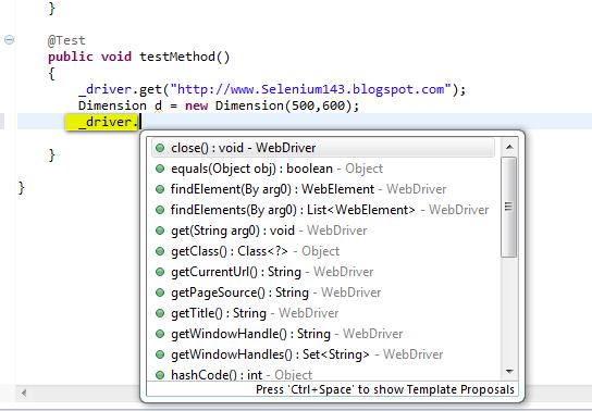 SeleniumTwo (QAFox com): 16  manage( ) window( ) setSize( ) - to