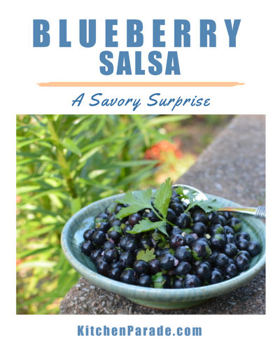 Blueberry Salsa ♥ KitchenParade.com, fresh, fruity savory fruit salsa for summer. Low Carb. Weight Watchers Friendly. Whole 30 Friendly.