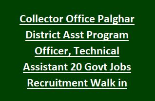 Collector Office Palghar District Asst Program Officer, Technical Assistant 20 Govt Jobs Recruitment Walk in Interview