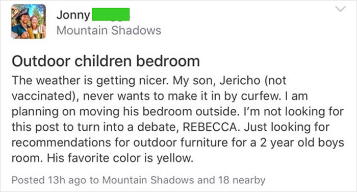 Anti-Vaxx Parent Asks Silly Question About Their Two-Year-Old's 'Outside Bedroom,' Gets Equally (And Hilariously) Silly Answers