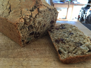 photo of freshly baked Gluten Free fruit, nut and seed bread