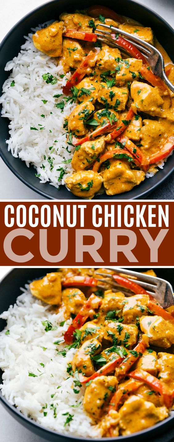 This coconut chicken curry can be made in one pot and is packed with delicious flavors! This curry can be made in 30 minutes or less making it the perfect weeknight dinner.