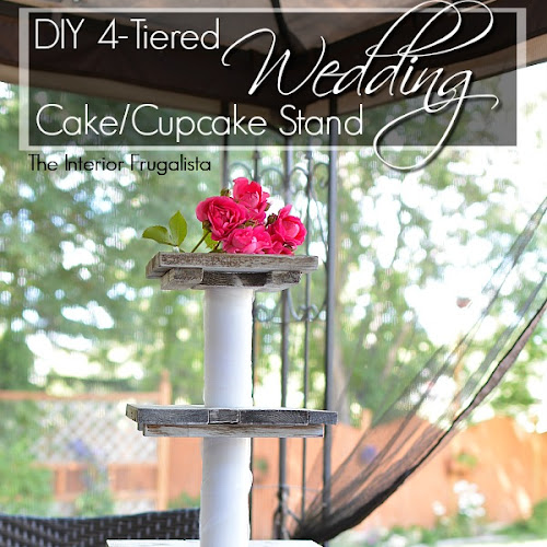 DIY Rustic Wedding Cake and Cupcake Stand