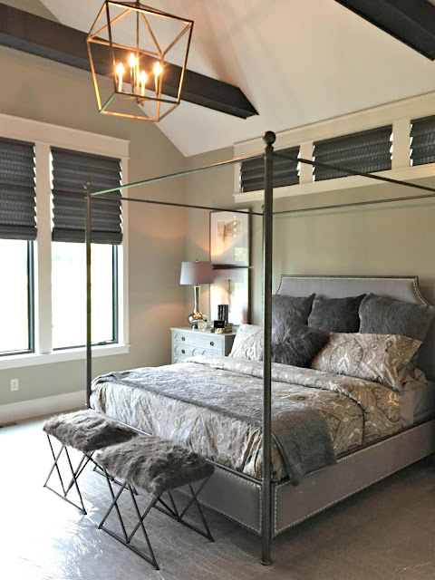 modern four poster metal bed