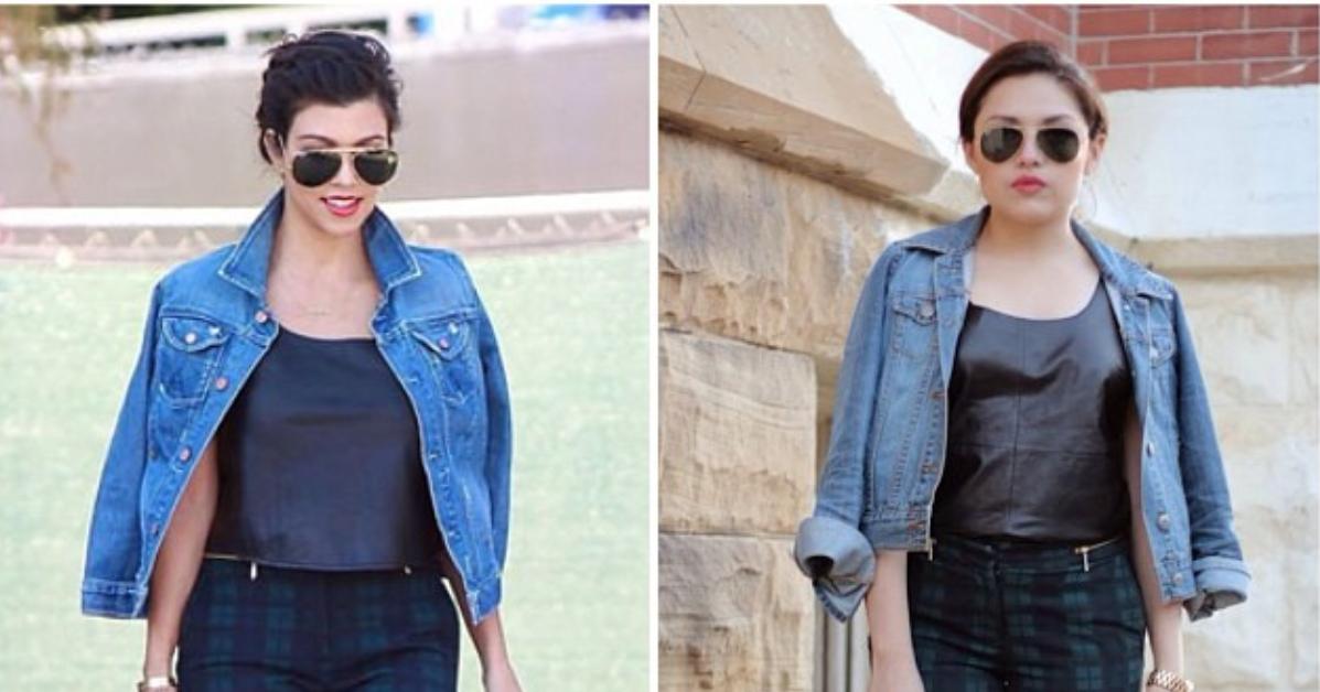Kourtney Kardashian Inspired Plaid Leather And Denim Ashes Into Fashion Dallas Fashion Blog