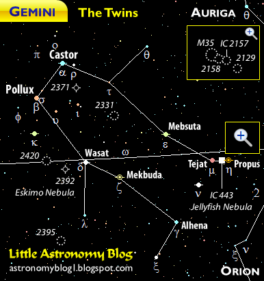 Constellation map of Gemini the Twins