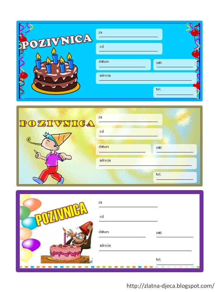 pozivnice za dječji rođendan download Zlatna djeca: Rođendanske pozivnice pozivnice za dječji rođendan download