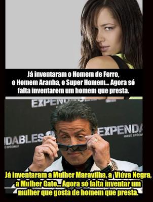EN: - They invented the Iron Man, Spiderman, Superman... Now we just need to invent a man of worth. - They invented Wonder Woman, the Black Widow, Catwoman... Now we just need to invent a woman who likes men of worth. ES: - Ellos inventaron el Hombre de Hierro, el Hombre Araña, el Super Hombre... Ahora sólo tenemos que inventar un hombre de valor. - Ellos inventaron la Mujer Maravilla, la viuda Negra, la Mujer Gato... Ahora sólo tenemos que inventar una mujer que le gustan los hombres de valía. FR: - Ils ont inventé l'Homme de Fer, l'Homme Araignée, le Super Homme ... Maintenant, nous avons juste besoin d'inventer un homme de valeur. - Ils ont inventé la Femme Merveille, la Veuve Noire, la Femme Chat... Maintenant, nous avons juste besoin d'inventer une femme qui aime les hommes de valeur. IT: - Hanno inventato l'Uomo di Ferro, l'Uomo Ragno, il Super Uomo... Ora abbiamo solo bisogno di inventare un uomo di valore. - Hanno inventato la Donna Meraviglia, la Vedova Nera, la Donna Gatto... Ora abbiamo solo bisogno di inventare una donna che ama gli uomini di valore.