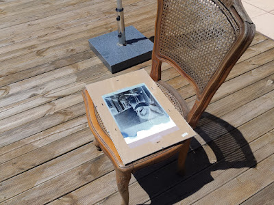 exposition au soleil  d'un cyanotype