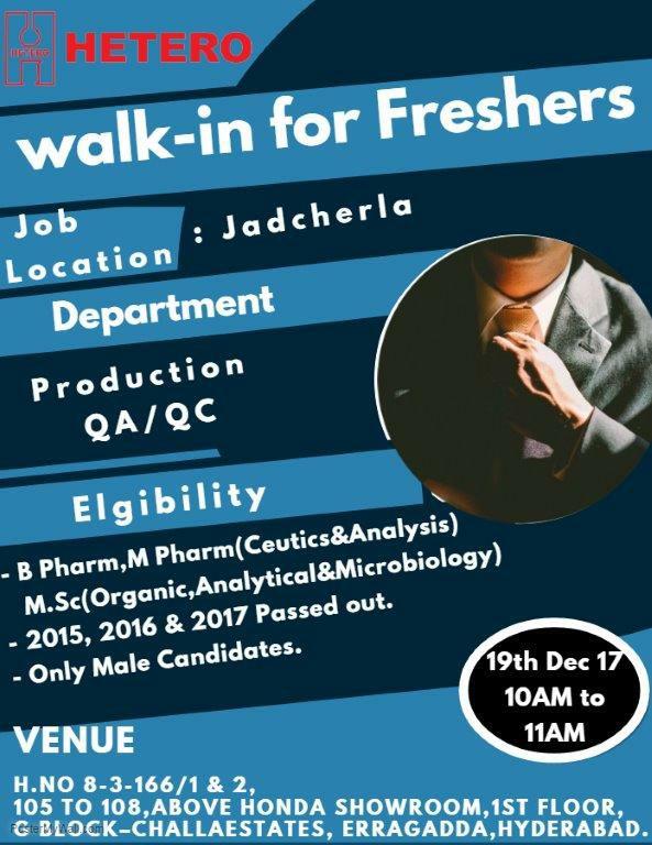 Hetero Pharma walk-in 19th December for Freshers in Production, QA ...