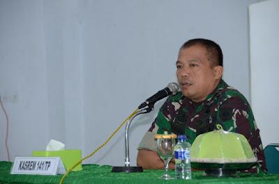 Kasrem 141/Tp Bekali Personel Korem 141/Tp Tentang Pembinaan Tata Ruang Wilayah Pertahanan Darat