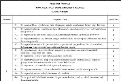 Download Prota dan Promes K 13 Bahasa Indonesia SMA Kelas 10 Tahun Ajaran 2018/2019