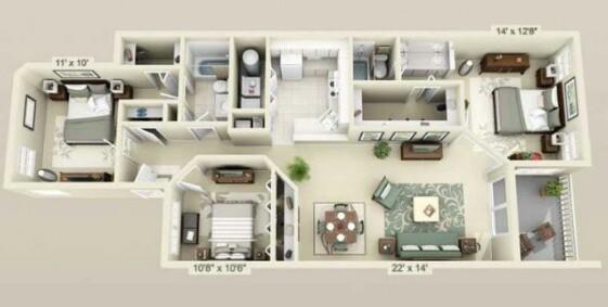 Desain Denah rumah minimalis 1 lantai ukuran 6x12 dalam bentuk  tiga dimensi