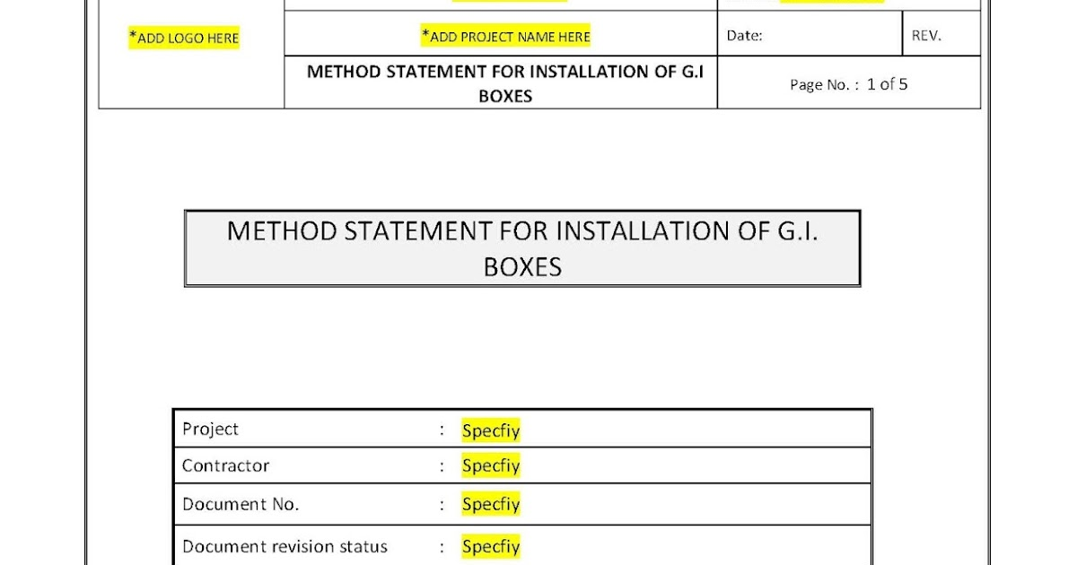 Your Document References Method Statement for Installation of GI Boxes - method of statement