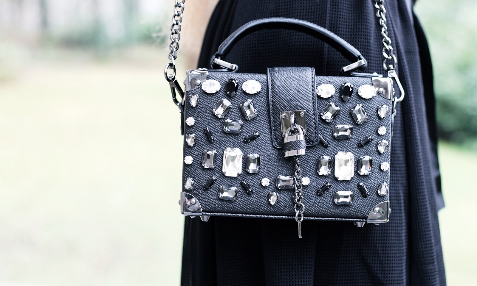 Aldo embellished black box bag