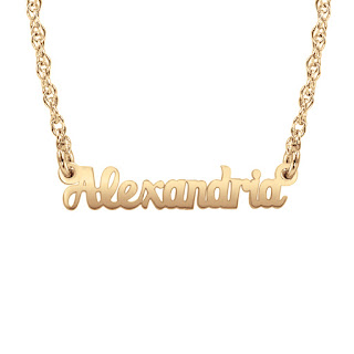 14k solid gold mini name necklace