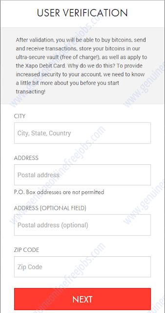 Création de portefeuille Xapo - Vérification de l'utilisateur