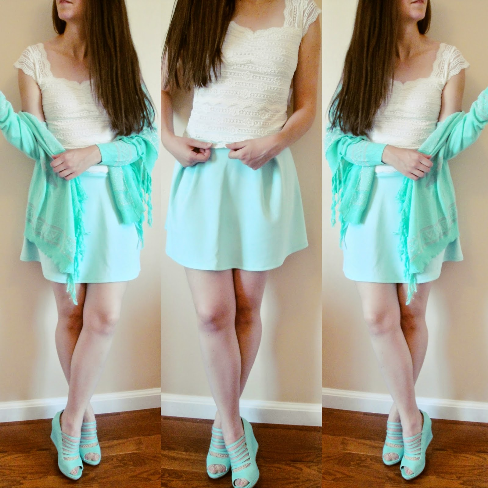 instagram outfits, instgram ootd, mint on mint, lace with mint skater skirt, mint kimono, mint sandal wedges, pretty outfit, ootd, outfit of the day, mint outfit to wear in the summer, summer outfit with mint skater skirt, mint kimono, kimono outfit, fringe kimono,