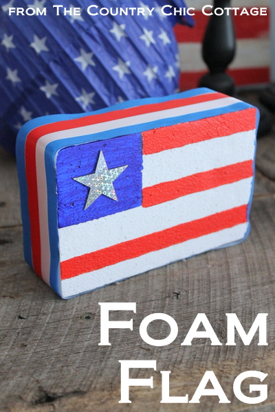 Make an American flag from foam for your patriotic decor this summer.  A super simple project that only takes minutes to complete.