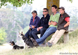 L-R: Sheena Martin, Wairoa, Josh Renner, Wairoa, Jeremy Bright, Wairoa, Jacob Moyle, Havelock North - watching the class one long head course - first dog trial of the season - Waimarama-Maraetotara Sheep Dog Trial Centre, at Kahuranaki Station. photograph