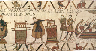 The Bayeux Tapestry showing Harold swearing oath on holy relics