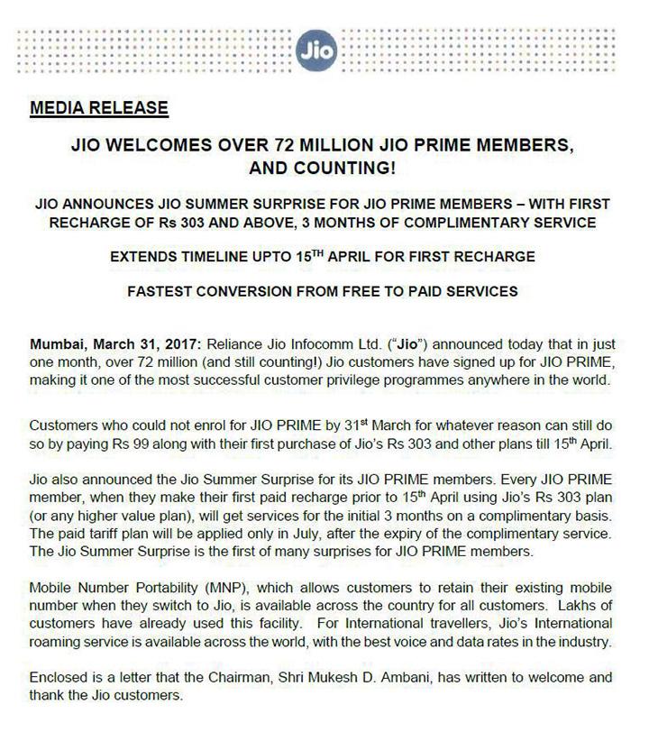 Jio Prime Extended Media Release