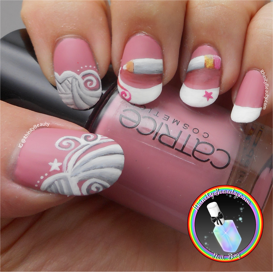 Freehand french doodle doodle tipped nail art ithinitybeauty for this manicure i used only my opi nail envy base coat catrices karl says tres chic pink nail polish and my acrylic paints this one was so fun to do prinsesfo Images